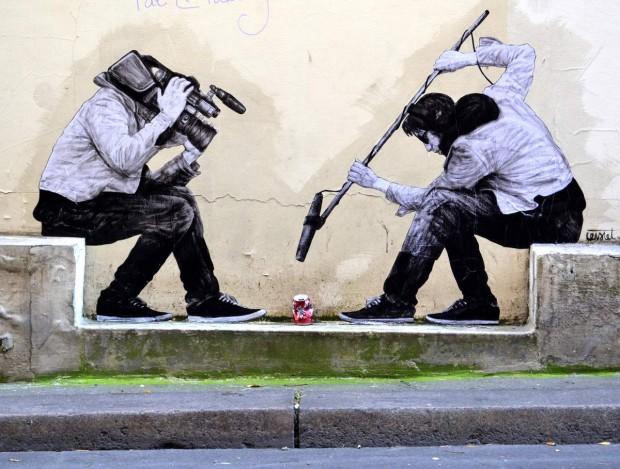 Levalet - streetart - 15-minutes of shame