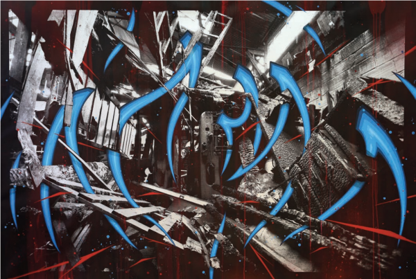 KATRE, K - Ivry - Chaos, 2015, acrylique et photographie sérigraphiée sur toile, 130 x 195 cm © Katre