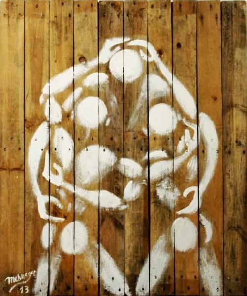 """""""Fraternité"""" _2013 Dimensions :120 x 100 cm, Acrylique sur bois © Galerie Art Jingle"""