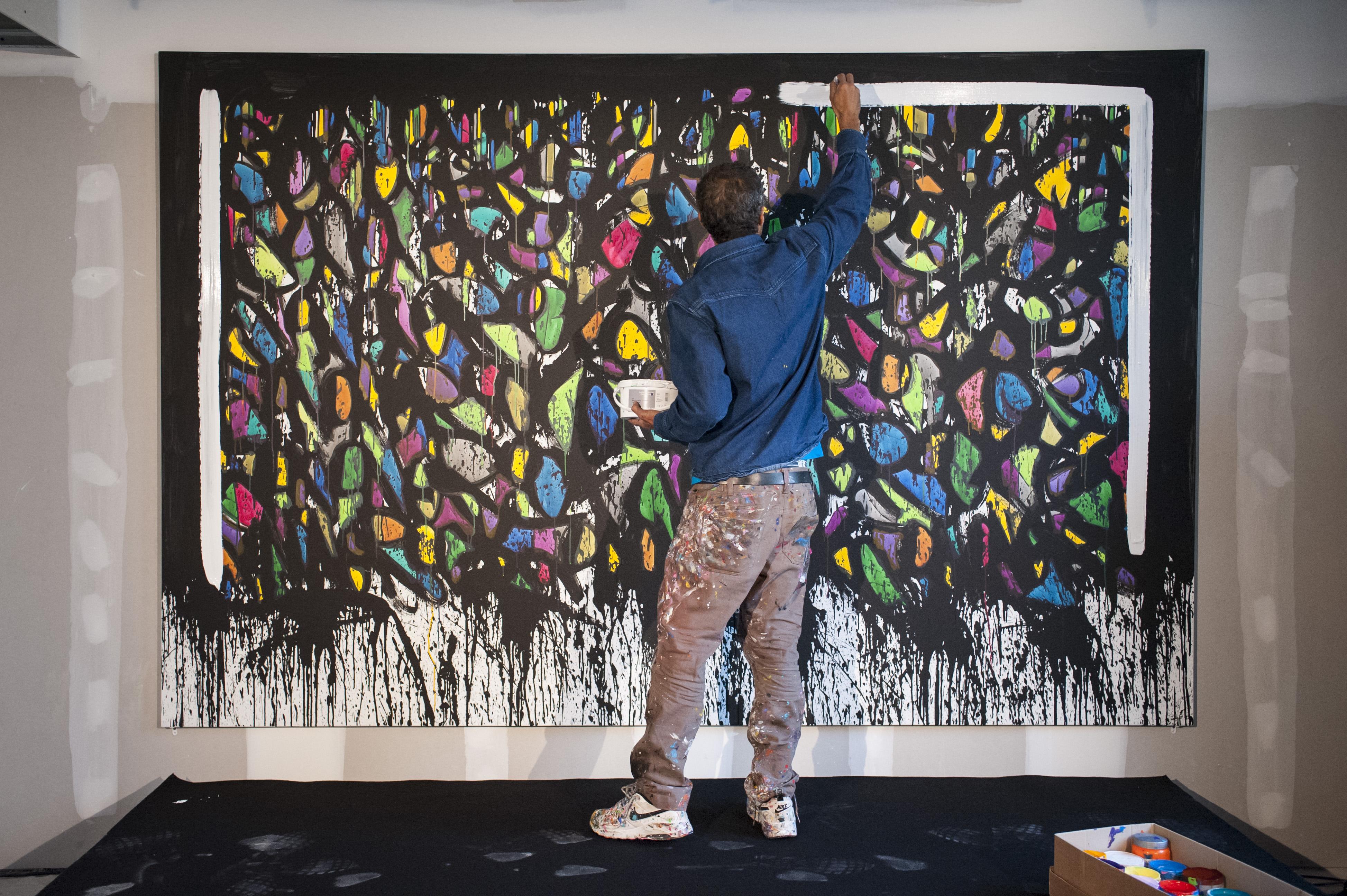 Soirée entreprise Gecina, organisée par Anamorphose, au 55 rue de Montmartre avec l'artiste Jon One.