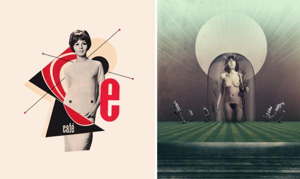 à gauche : Café – Itchi. Traits noirs réalisés sur ordinateur / à droite : Awakening – Julien Pacaud