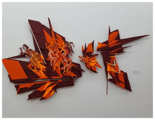 Composition I - acrylique sur assemblage de bois découpé