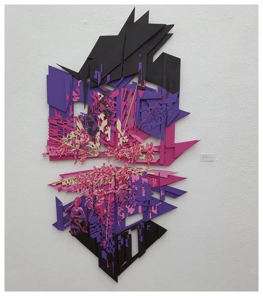 Composition III - acrylique sur assemblage de bois découpé