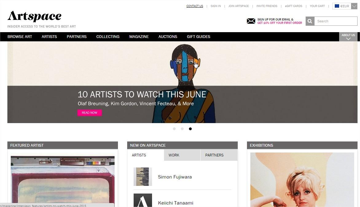 Le site américain d'Artspace