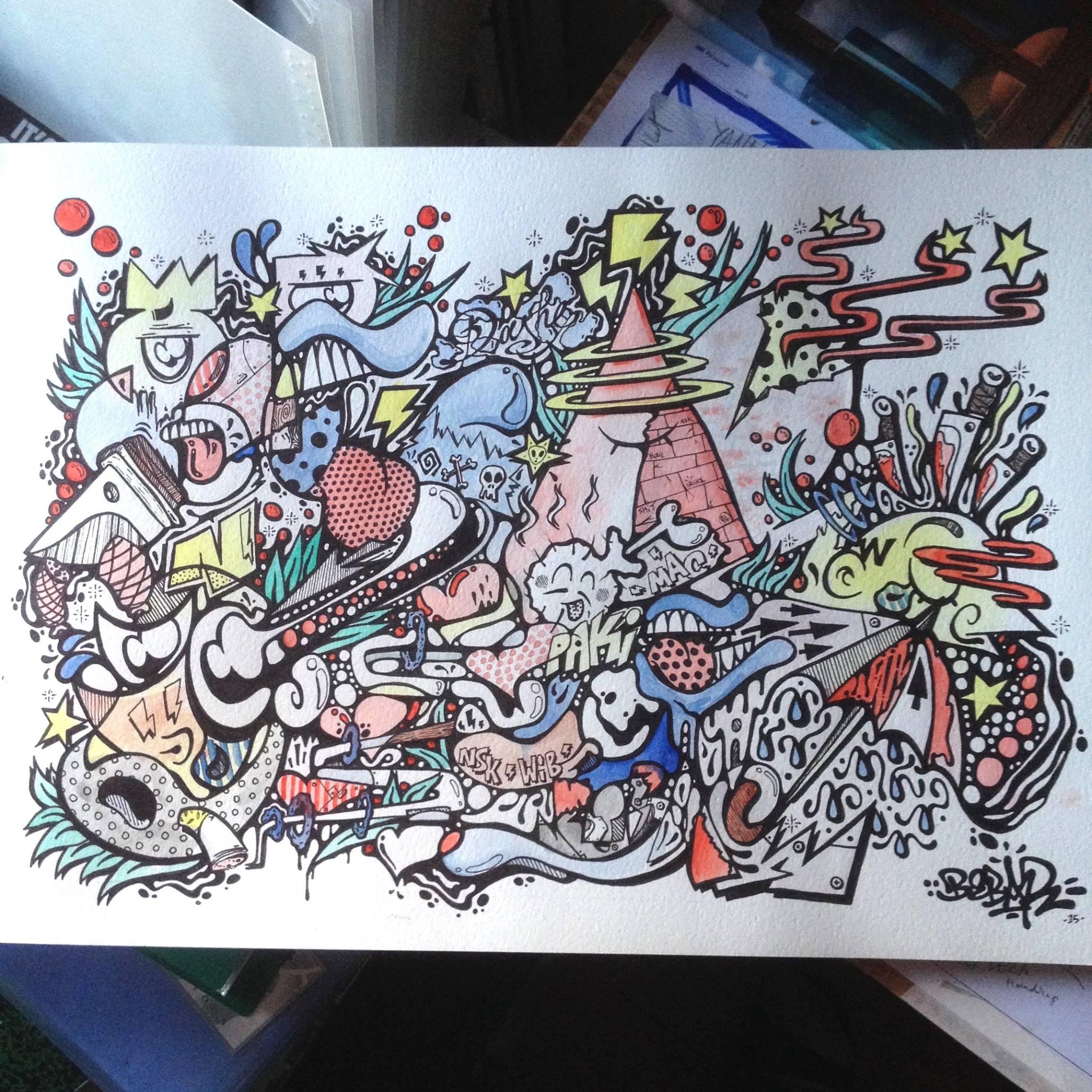 Mélange de dessin et de graff ©  Berbarbarie