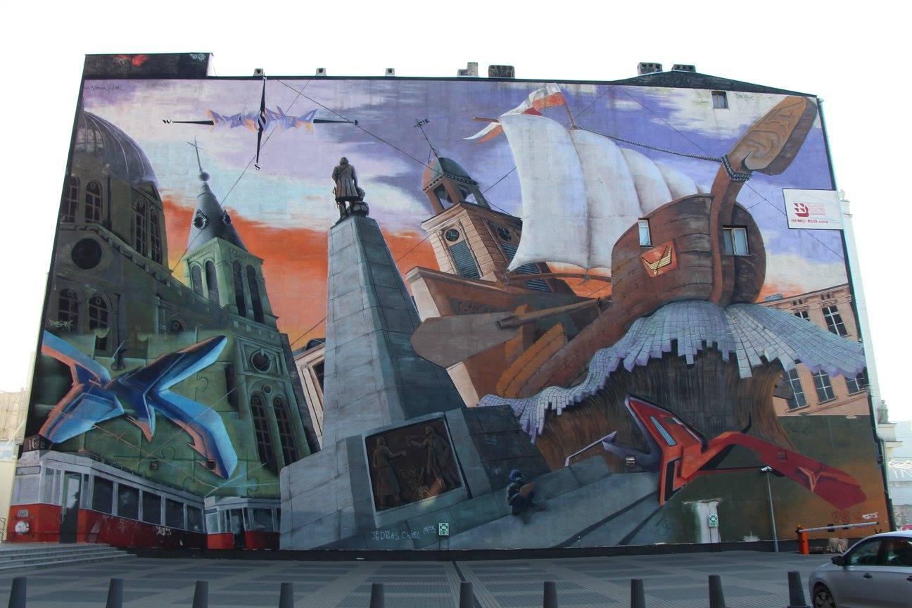 Le bateau voguant sur la cité, symbole de Lodz