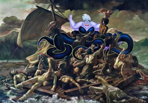 """Encoreunestp,""""Louvre vs Disney"""", peinture à l'huile © photo Leen"""