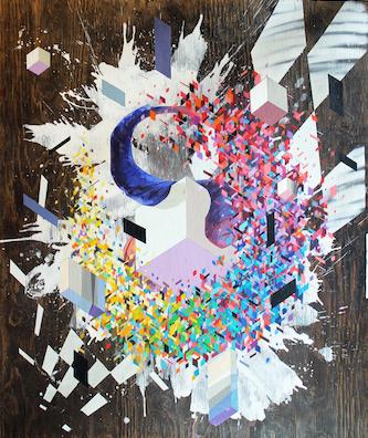 """""""Enveloping nature"""", 2017 - Acrylique, peinture aérosol et marqueur sur panneau"""