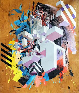 """""""Unnatural geometry"""", 2017 - Acrylique, peinture aérosol et marqueur sur panneau"""